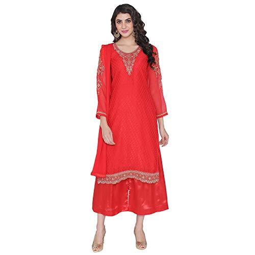 (PinkShink Women's Readymade Red Brasso Indian/Pakistani Salwar Kameez Dupatta)