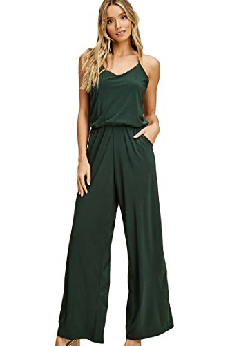 Annabelle Womens Sleeveless Strap Racer Back Romper Jumpsuits with Pockets