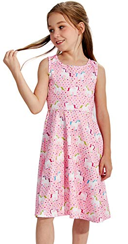 Girls Unicorn Dress Size 8 9 Years Old 3D Print Fancy White Blue Pink Plum Horse Midi Twirl Cute Pet Pattern Belle Princess Dresses Sleeveless Tunic Slim Fit for Big Teens Girl Casual Party Fall Wear