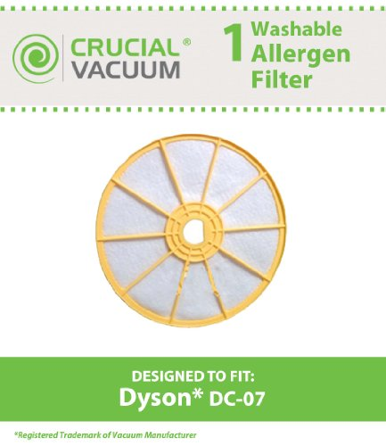 Dyson DC-07 Washable & Reusable Pre-Filter, Replaces Dyson DC07 Pre-Motor Filter Part # 904979-02 (90497902); Designed & Engineered By Crucial Vacuum