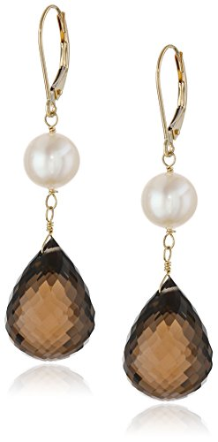14k Yellow Gold Smokey Quartz and Freshwater Cultured Pearl Dangle Earrings