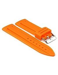 StrapsCo Orange Silicone Divers Watch Band size 28mm
