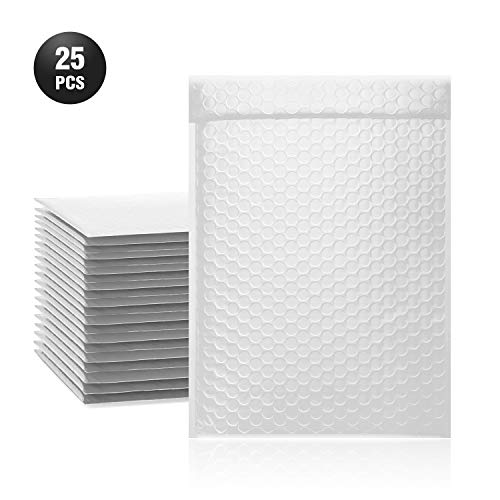 TONESPAC 25 Pack #3 9x12 Poly Bubble Mailers Padded Envelopes Retailer Shipping Bags with Waterproof Self Seal Strip - White (12 9 25 Count X Envelopes)