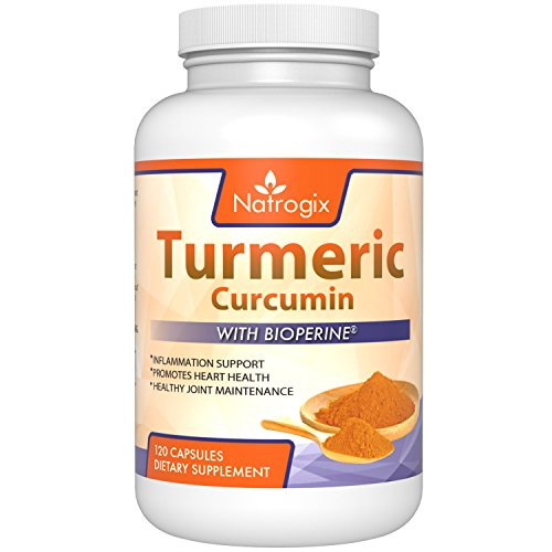 Natrogix 120CT Turmeric Curcumin with BioPerine. Highest Potency per Capsule. Premium Pain Relief & Joint Support with 95% Standardized Curcuminoids. Non-GMO, Gluten Free & Vegan friendly.