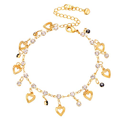 18k Gold Heart Charm - U7 Heart Charm Anklets 18k Gold Plated Foot Bracelet Jewelry for Women Rhinestone 3 Color Options (Black)