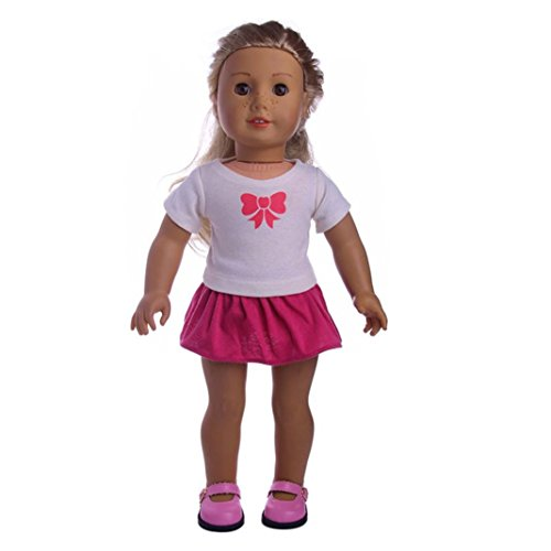Rucan Doll Clothes T-Shirt Skirt Summer Outfits Set for 18 inches American Girl Dolls (B) -