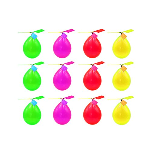 DLOnline 12 Pack Kids Toy Balloon Helicopter, Novelty Toys, Party Favors (Random color)