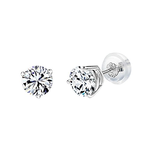White Gold Three Prong (14k White Gold 3-Prong 4.5mm Round Screwback Earrrings Made with Swarovski Zicornia)