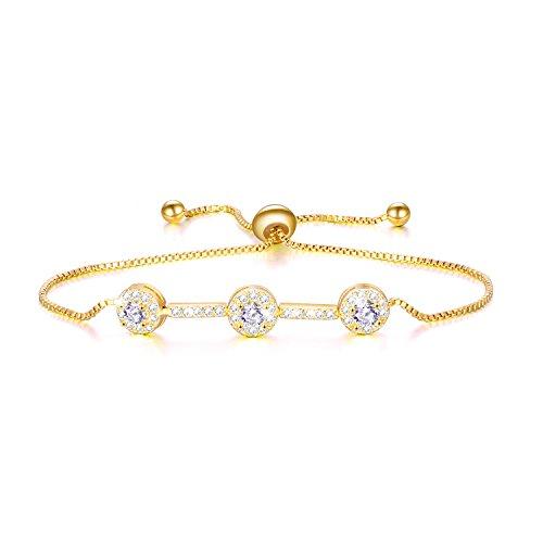 WINNICACA Cubic Zirconia Adjustable Bracelet Tennis Bangle Bracelet Dainty Fashion Bracelet Jewelry for Women Girls(Gold)