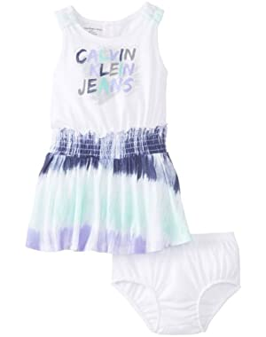 Baby Girls' Dress with Tie-Dye Skirt and Panty
