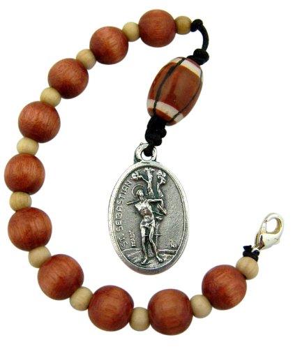 One Decade Wood Rosary with Saint Sebastian Medal Bag Clip for Football Athlete ()