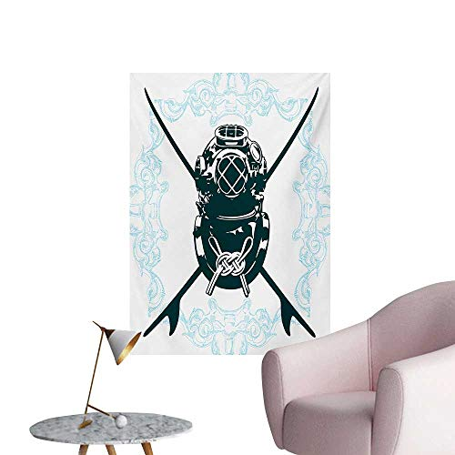 (Anzhutwelve Surf Wallpaper Surf Sign with Diving Suit and Elements Myst Underwater Recreational DesignBlue Dark Petrol Blue W24 xL36 Wall Poster)