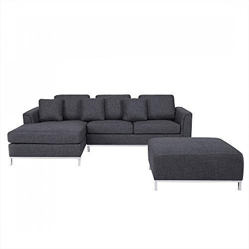 Sofa Grau - Couch - Ecksofa R - Sofalandschaft - Sofagarnitur - Stoffsofa - OSLO
