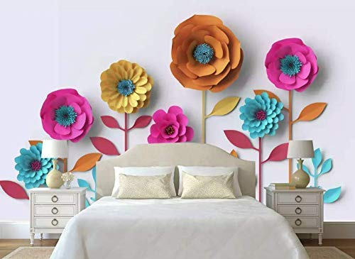 Murwall Paper Floral Wallpaper Peony Flower Wall Mural Colorful Blossom Wall Print Living Room Bedroom Entryway Cafe Design