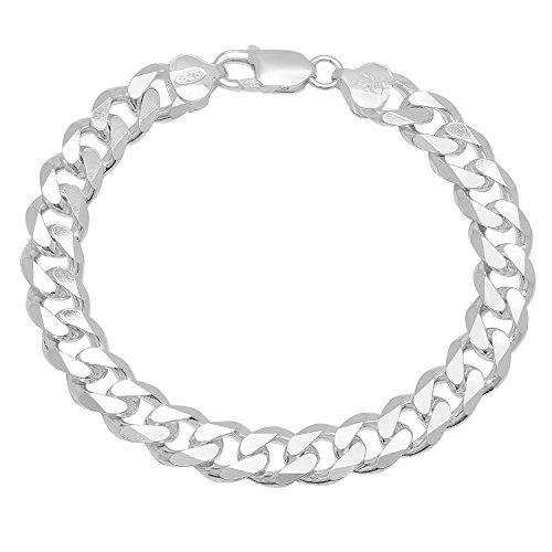 9.5mm Genuine 925 Sterling Silver Nickel-Free Italian Curb Chain Bracelet, 7 inches + Cleaning (Italian Sterling Silver Curb)