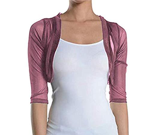 Fashion Secrets Junior`s Sheer Chiffon Bolero Shrug Jacket Cardigan 3/4 Sleeve (Small, Mauve)