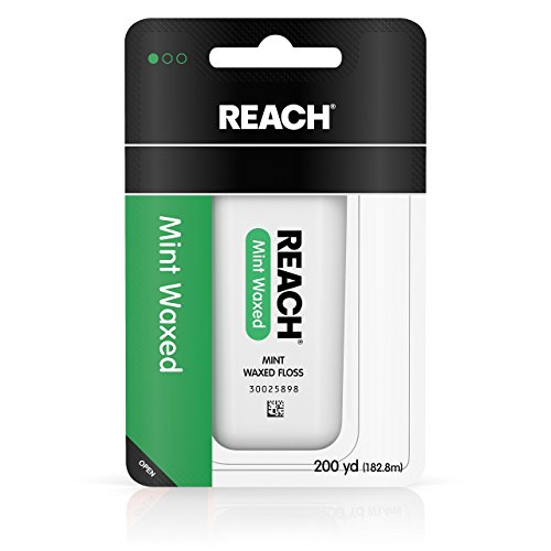 Waxed Floss Mint Reach (Reach Waxed Dental Floss for Plaque and Food Removal, Refreshing Mint Flavor, 200 Yards)