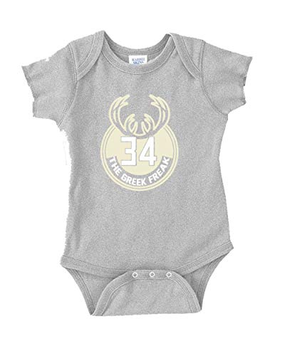 Grey Milwaukee Giannis Greek Logo Baby 1 Piece (Newborn Logo Tank Top)