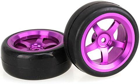 Mxfansゴムスリックタイヤとパープル5スポーク・アルミホイールリムのrc1: 10オンロード車のセット4