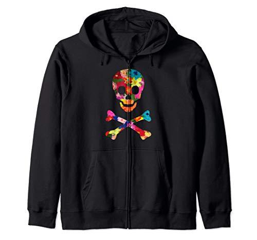 (Flowered Skull And Crossbones Funky Jolly Roger Pirate Zip Hoodie)