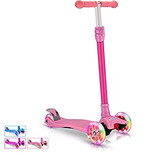 BELEEV Kick Scooter for Kids 3 Wheel Scooter, 4 Adjustable Height, Lean to Steer with PU LED Light Up Wheels for Children from 3 to 13 Years Old (Pink)