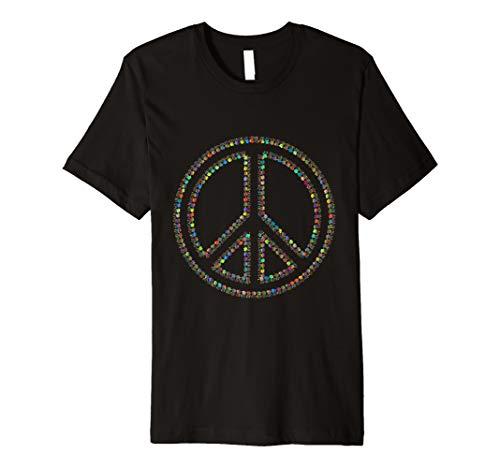 (PEACE SIGN Hands Tie Dye Hippy 70's Shirts Men Women Gift Premium T-Shirt )