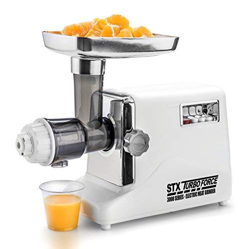 STX International STX-3000-JTF Turboforce 3 Speed Electric Meat Grinder & Sausage Stuffer - Heavy Duty 1200 Watts - Size #12-4 Grinding Plates, 3 Stainless Blades, Sausage Stuffer & Kubbe Attachment (Regular Edition Meat Grinder with Juicer)