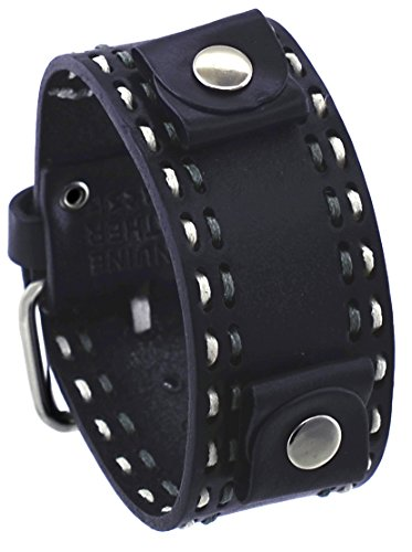 Nemesis #DSTH 22mm Lug Width Black Wide Leather Cuff Wrist Watch Band with Stitching by Nemesis