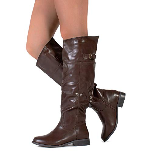 - RF ROOM OF FASHION Medium Calf Western Knee High Low Stacked Heel Riding Boots Brown (9)