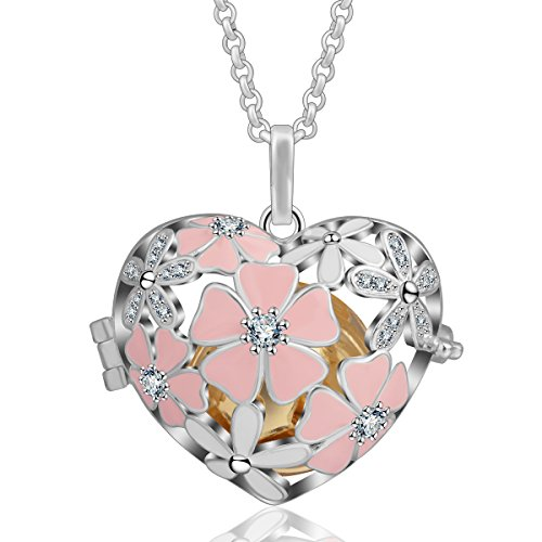 AEONSLOVE Pink Cherry Blossom, Cubic Zircon Rhinestone Harmony Ball 18mm Pendant Chime Bell Necklace & 30'' Chain for Women (Gold)