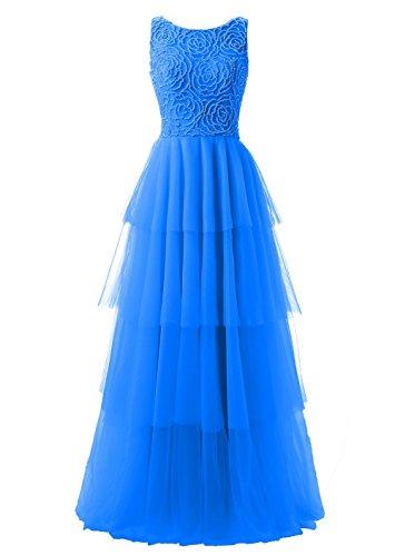 V for Sheer Dresses Callmelady Neck Light Beaded Blue Royal Juniors Prom Long with Back 6nxY1UH