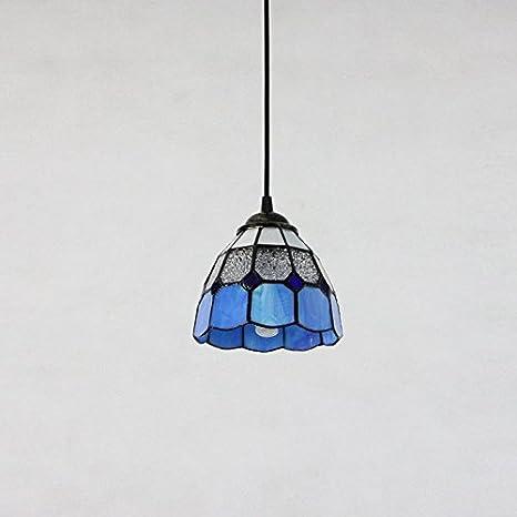 AMBERLIGHT Vintage Glass Pendant Light Fixture Retro Blue Kitchen - Blue kitchen light fixtures