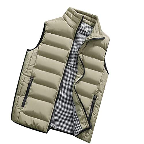 Vest Stand EKU Down Collar Vest Lightweight Khaki Casual Men's Jacket ppwZxnqA8