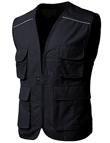 H2H Mens Active Safety Zip Front Sleeveless High Visibility Class 2 Vest Navy US XL/Asia 2XL (Piping Wool Coat)