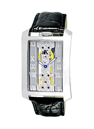 Adee Kaye Men's Tablet Black Calfskin Band Steel Case Automatic Silver-Tone Dial Analog Watch ()