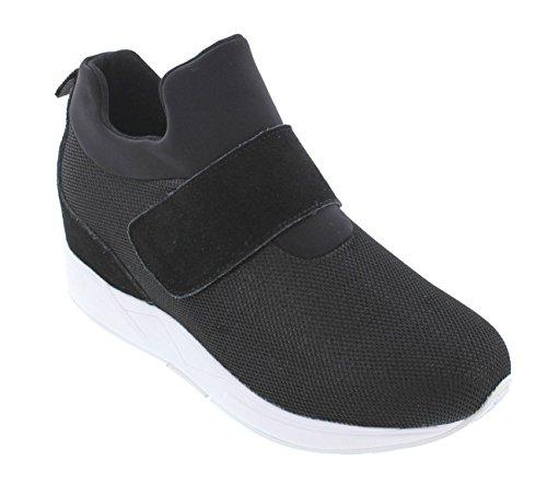 Calto H7180-3 Pollici Taller - Scarpe Con Rialzo Altezze In Altezza - Sneakers Slip-on Nere