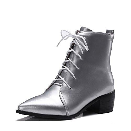 AllhqFashion Damen Schnüren Spitz Zehe Blockabsatz PU Leder Mitte-Spitze Stiefel, Silber, 32