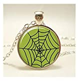 Leonid Meteor Shower Spider Web Picture Pendant Necklace, Pure Hand Made, Dome,Glass Ornaments,Exquisite Necklace.
