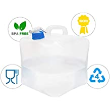 ITRAZ Collapsible Water Container, Portable Water Carrier Bag,BPA Free Food Grade PE Water Storage for RV Camping Hiking Climbing Picnic BBQ Outdoors and Emergencies 5 Liter / 10Liter / 20Liter