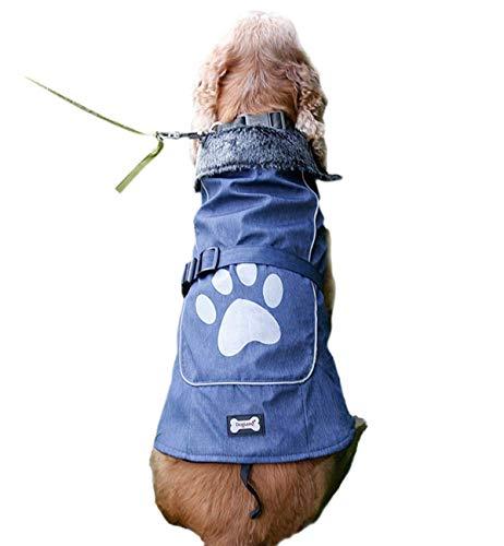 fogohill Small to Large Dogs Pet Classic Winter Warm Dog Jacket Waterproof Reflective Fleece Dog Coat Blue XXX-Large