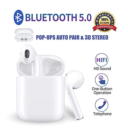 Bluetooth headphones, wireless earbuds, new upgrade [POP-UPS auto pairing] CVC8.0 intelligent noise reduction, 3D HD stereo, IPX5, for Airpod iPhone Apple Airpods Bluetooth headset (charge box)