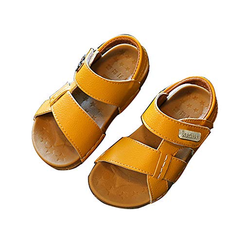 EsTong Baby Boys Girls Sandals Flat Kids' Infant Non-Slip Outdoor Soft Sole Summer Shoes Yellow 6.5M US - Sandals Boys Yellow