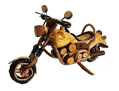 (LUCKYWOOD Handmade Wooden Vintage Motorbike, Motorcycle Model for Home Decoration)