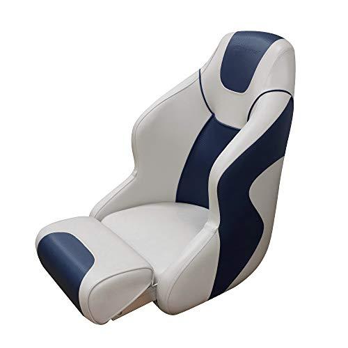 (Seamander S1045 Series Premium Bucket Seat,Sport Flip Up Seat, Captain Seat (Ivory/Blue))