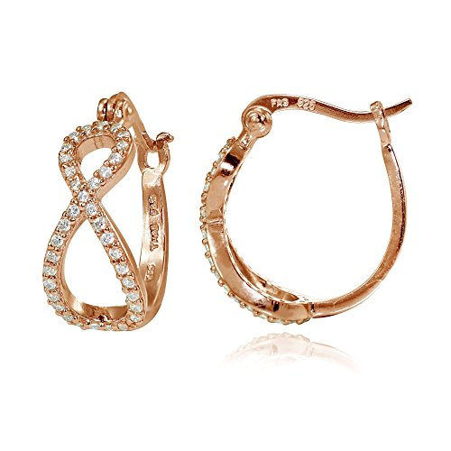 Rose Gold Flashed Sterling Silver Cubic Zirconia Infinity Hoop Earrings