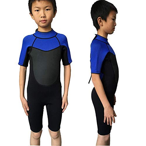 - Realon Wetsuit Kids Shortie 3mm Boys Wetsuit Shorty Swim Suit Children Snorkeling Suits Surf Suit Jumpsuit (Black/Blue, S)