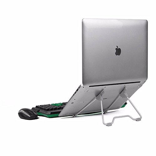 "Geekercity Adjustable Laptop Stand, Folding Portable Desktop Holder Stand Universal for Macbook Air Pro 10""-17"" Dell Samsung Lenovo Acer Notebook, iPad mini air 2 mini 2 pro 8""-10"" Tablets (Grey)"