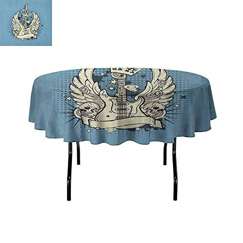 DouglasHill Guitar Washable Tablecloth Rock n Roll Composition Crown Wings Skulls Stars on Retro Grunge Backdrop Dinner Picnic Home Decor D40 Inch Pale Blue Ivory ()