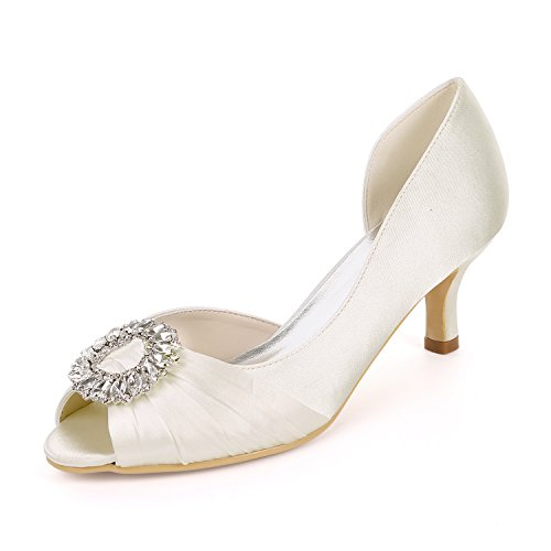 08B Open Ivory Court Y1195 Wedding Mid Flower Sandals EU39 Ager Satin Shoes Mujeres Heels UK6 Rhinestones Bombas Toe Party xFqw1Ag
