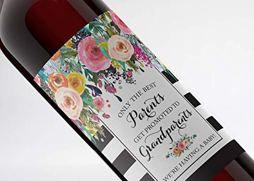 ● SET of 6 ● FAMILY & FRIENDS Pregnancy Announcement Wine Labels: 4 Best PARENTS Get Promoted to GRANDPARENTS Wine Labels + 2 Best FRIENDS Get Promoted to AUNTIE Labels WATERPROOF, Black, A104-4P2F1 (The Best Parents Get Promoted To Grandparents Wine Label)